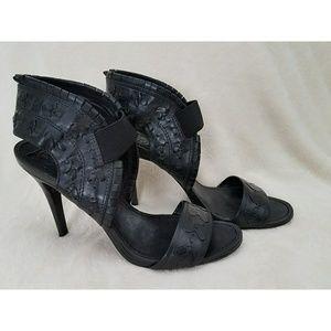 Tory Burch Cheryl Black Leather Woven Heels Sandal